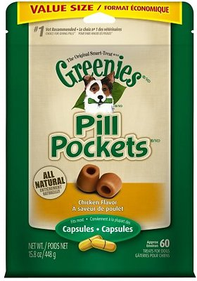 Greenies Pill Pockets Canine Chicken Flavor Dog Treats, 60-count, Capsule Size