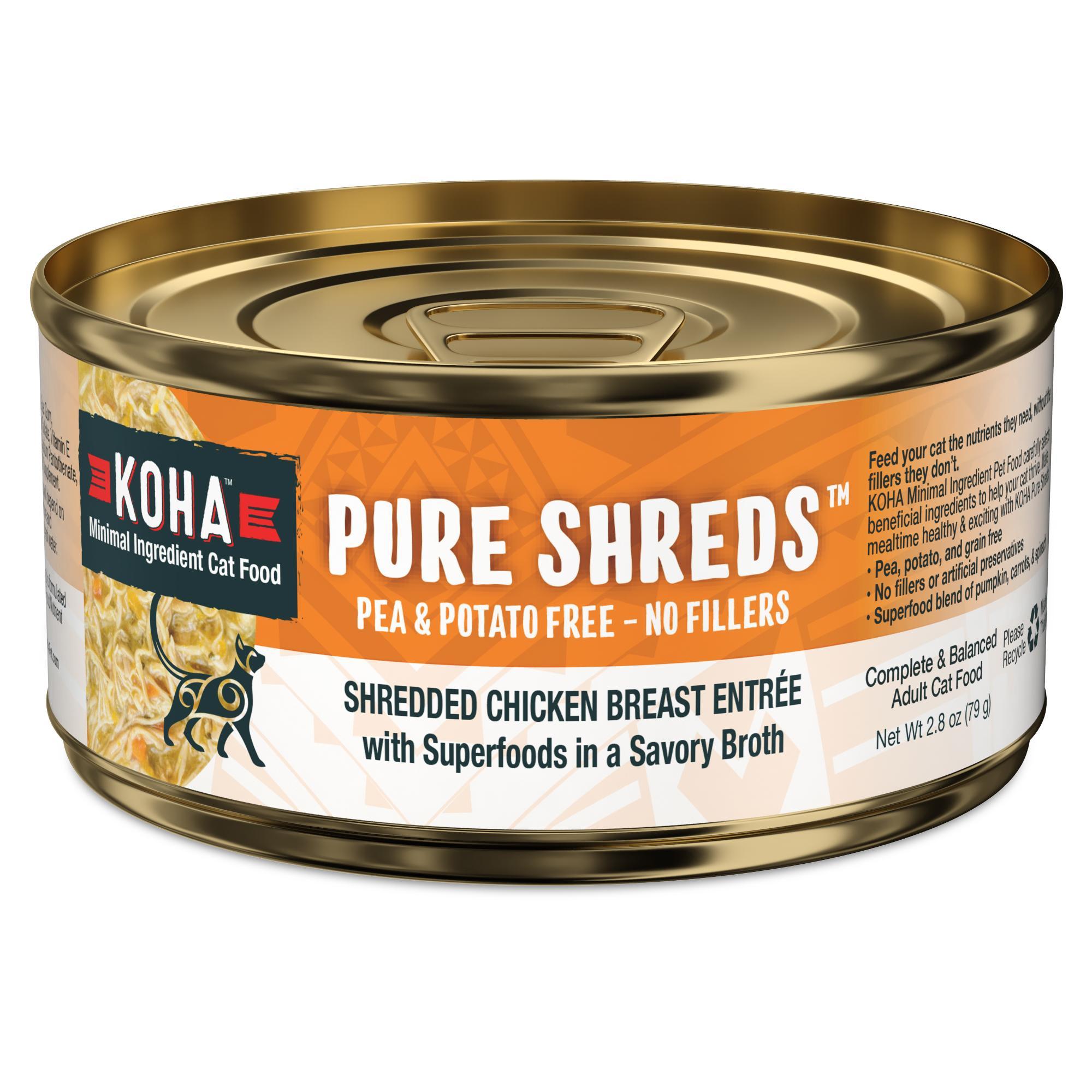 Koha Pure Shreds Shredded Chicken Breast Entrée Wet Cat Food, 2.8-oz, case of 24