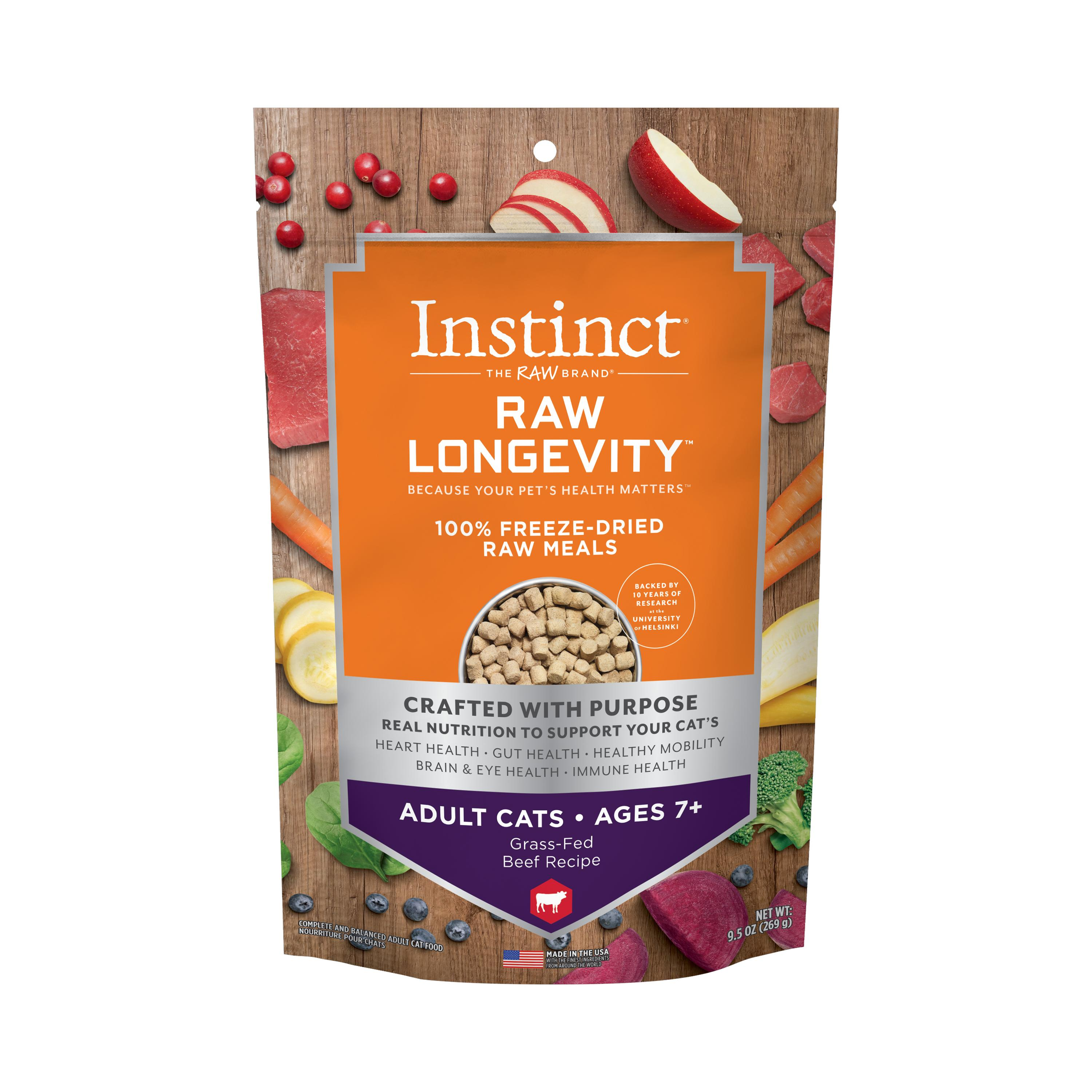 Instinct by Nature's Variety Raw Longevity Grass-Fed Beef Age 7+ 100% Freeze-Dried Cat Food, 9.5-oz