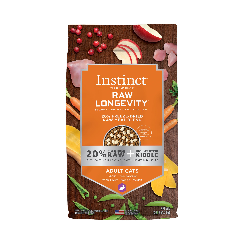 Instinct by Nature's Variety Raw Longevity Grain-Free Recipe with Farm-Raised Rabbit 20% Freeze-Dried Cat Food, 3.8-lb