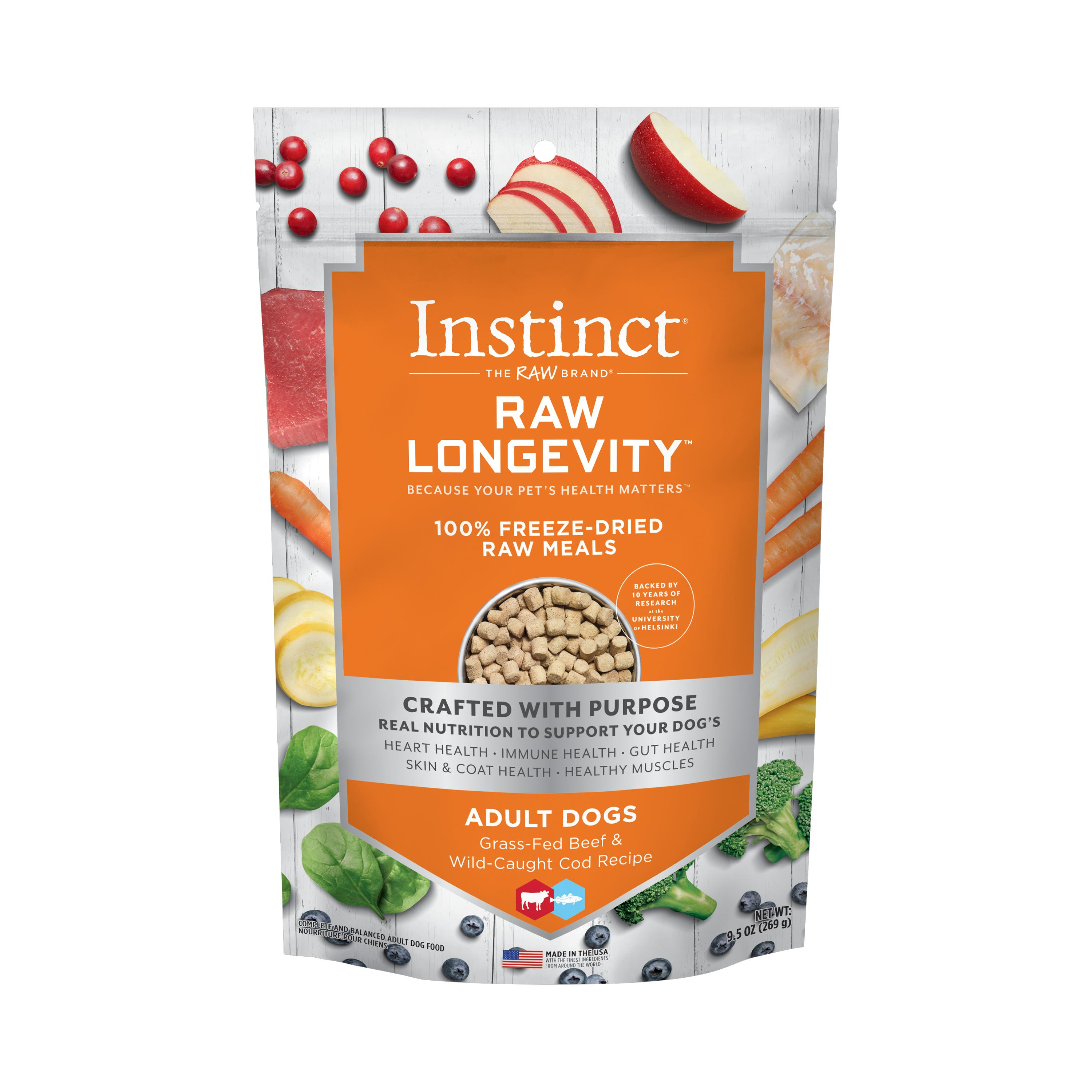 Instinct by Nature's Variety Raw Longevity Grass-Fed Beef & Wild-Caught Cod 100% Freeze-Dried Dog Food, 9.5-oz