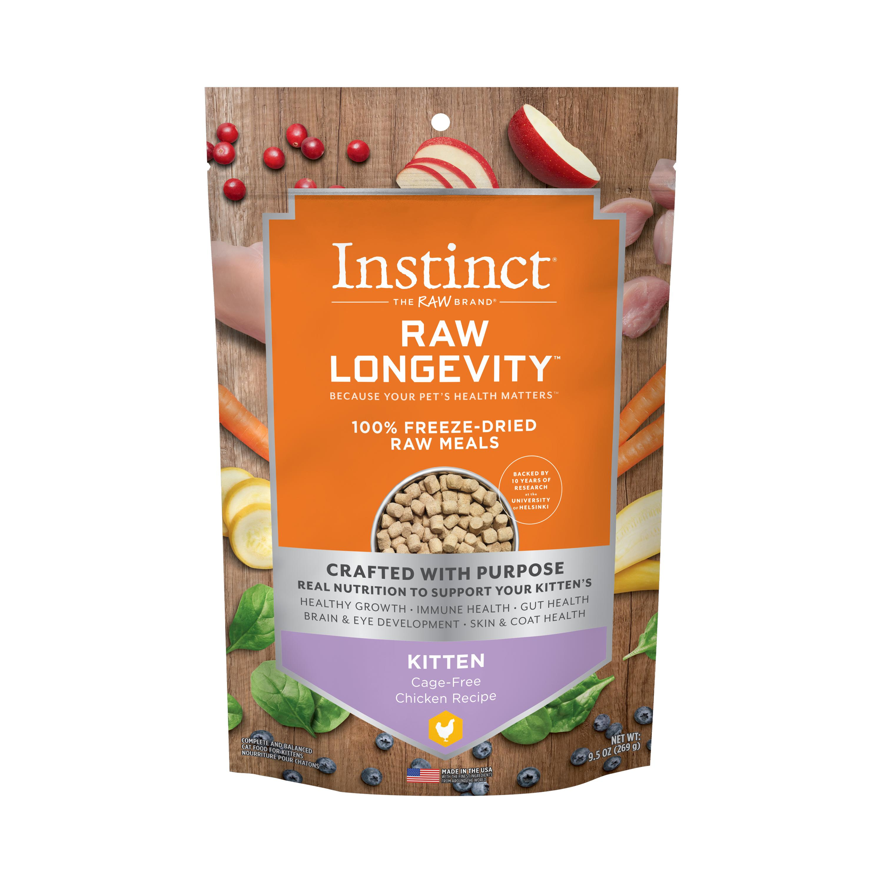 Instinct by Nature's Variety Raw Longevity Cage-Free Chicken Kitten 100% Freeze-Dried Cat Food, 9.5-oz