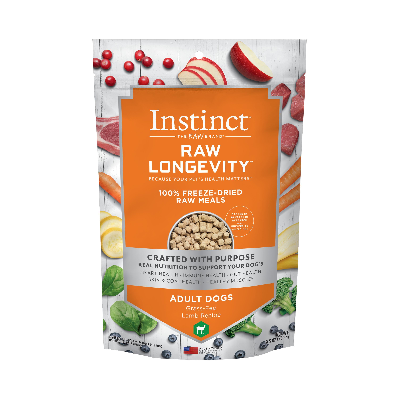 Instinct by Nature's Variety Raw Longevity Grass-Fed Lamb 100% Freeze-Dried Dog Food, 9.5-oz