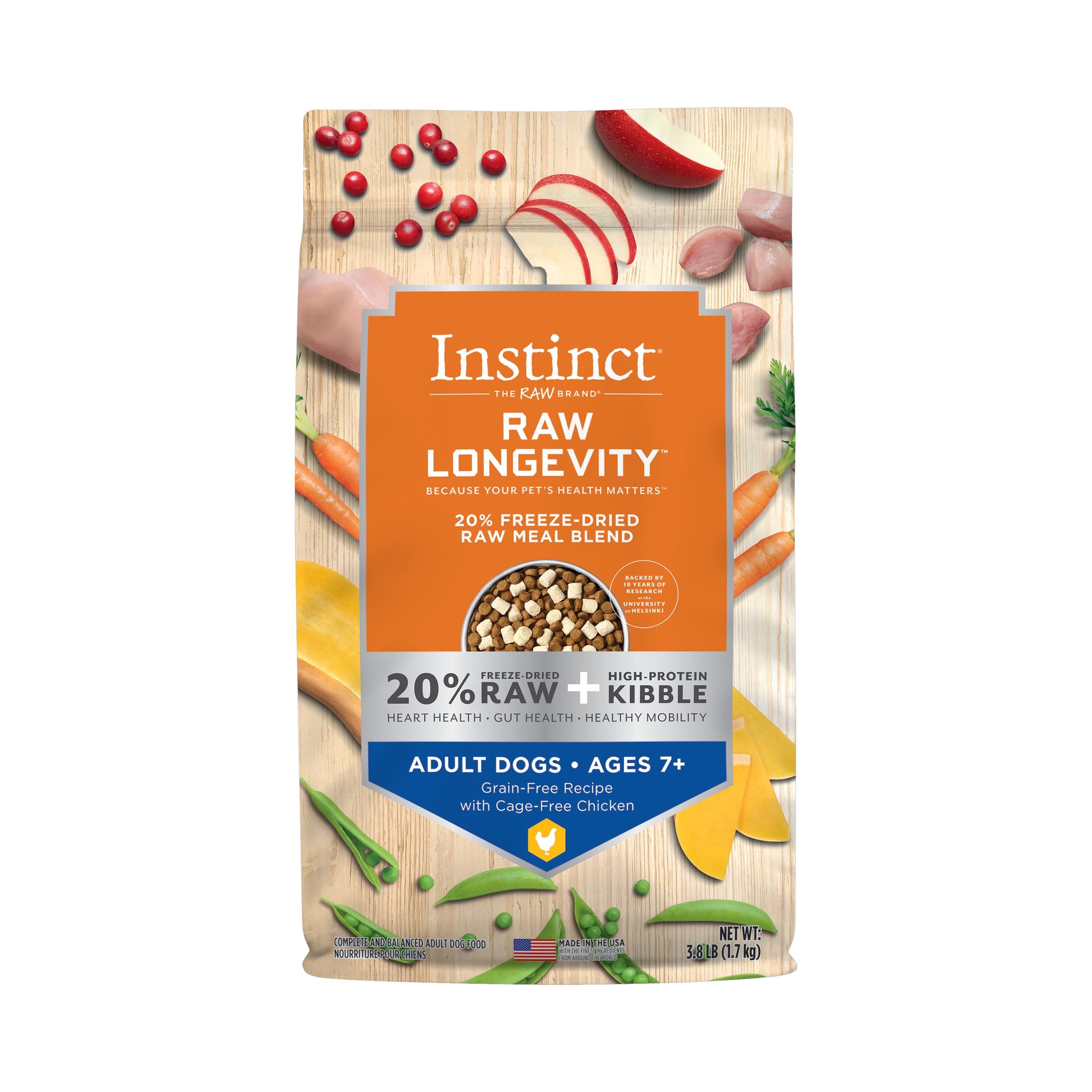 Instinct by Nature's Variety Raw Longevity Grain-Free Recipe with Cage-Free Chicken Age 7+ 20% Freeze-Dried Dog Food, 3.8-lb