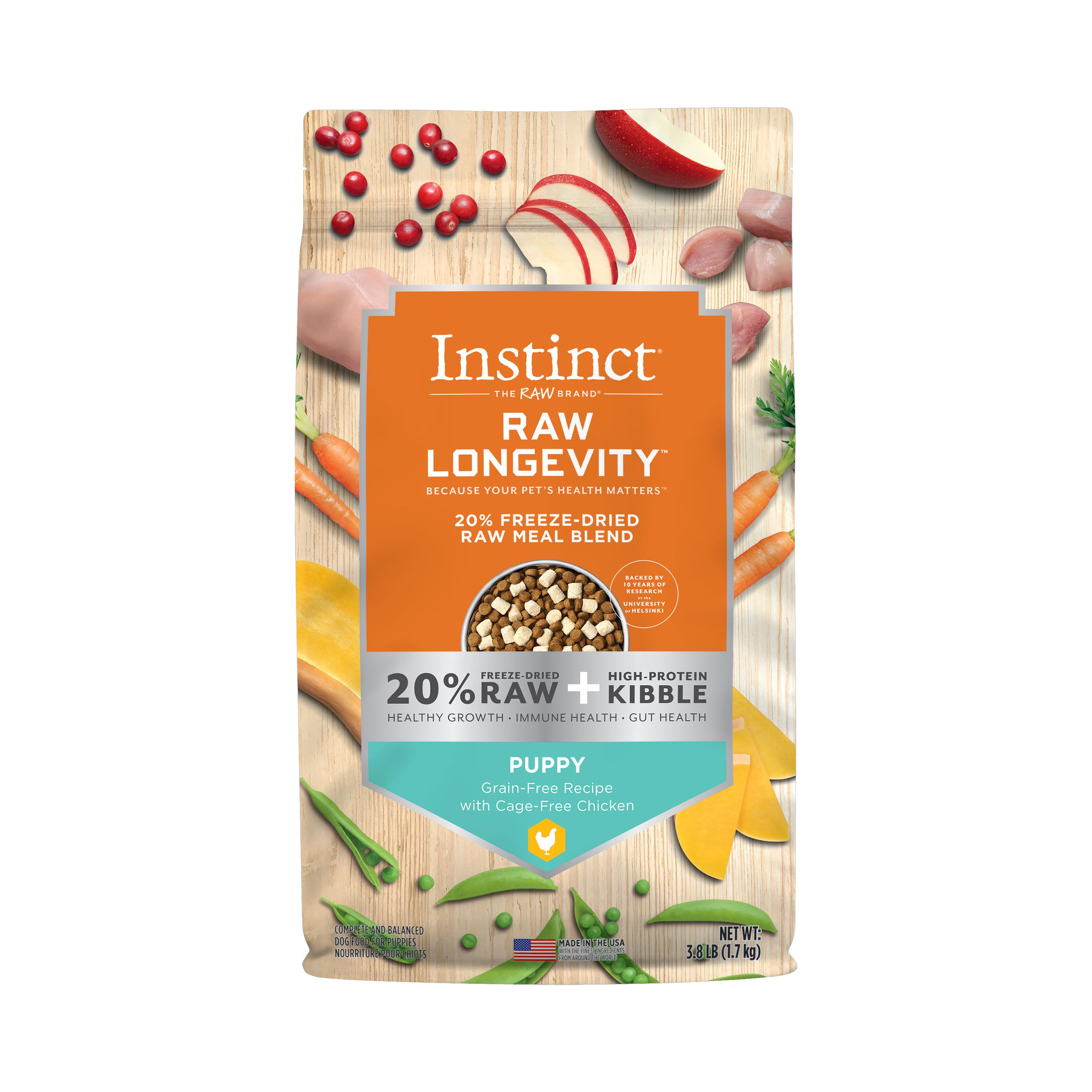 Instinct by Nature's Variety Raw Longevity Grain-Free Recipe with Cage-Free Chicken Puppy 20% Freeze-Dried Dog Food, 3.8-lb