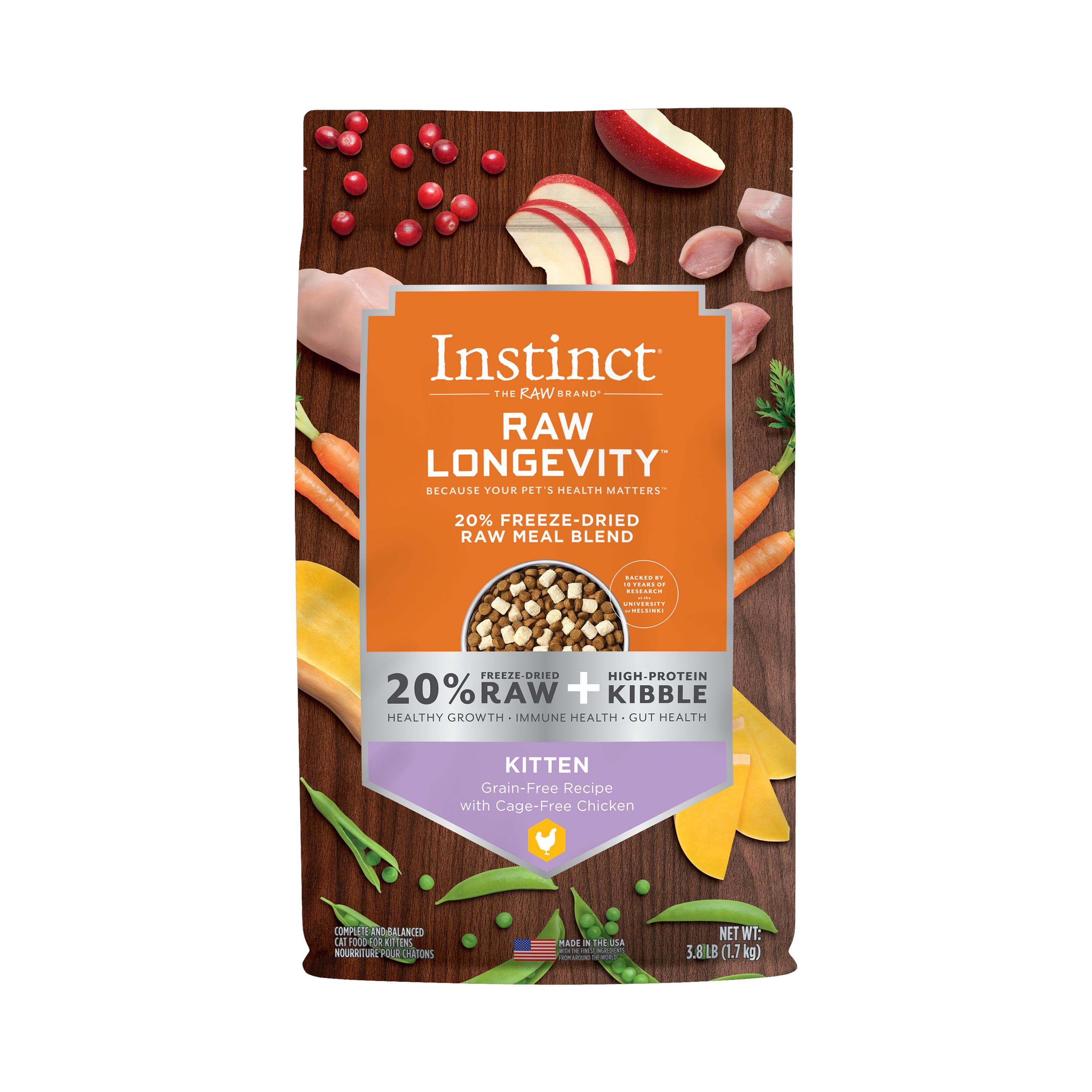 Instinct by Nature's Variety Raw Longevity Grain-Free Recipe with Cage-Free Chicken Kitten 20% Freeze-Dried Cat Food, 3.8-lb