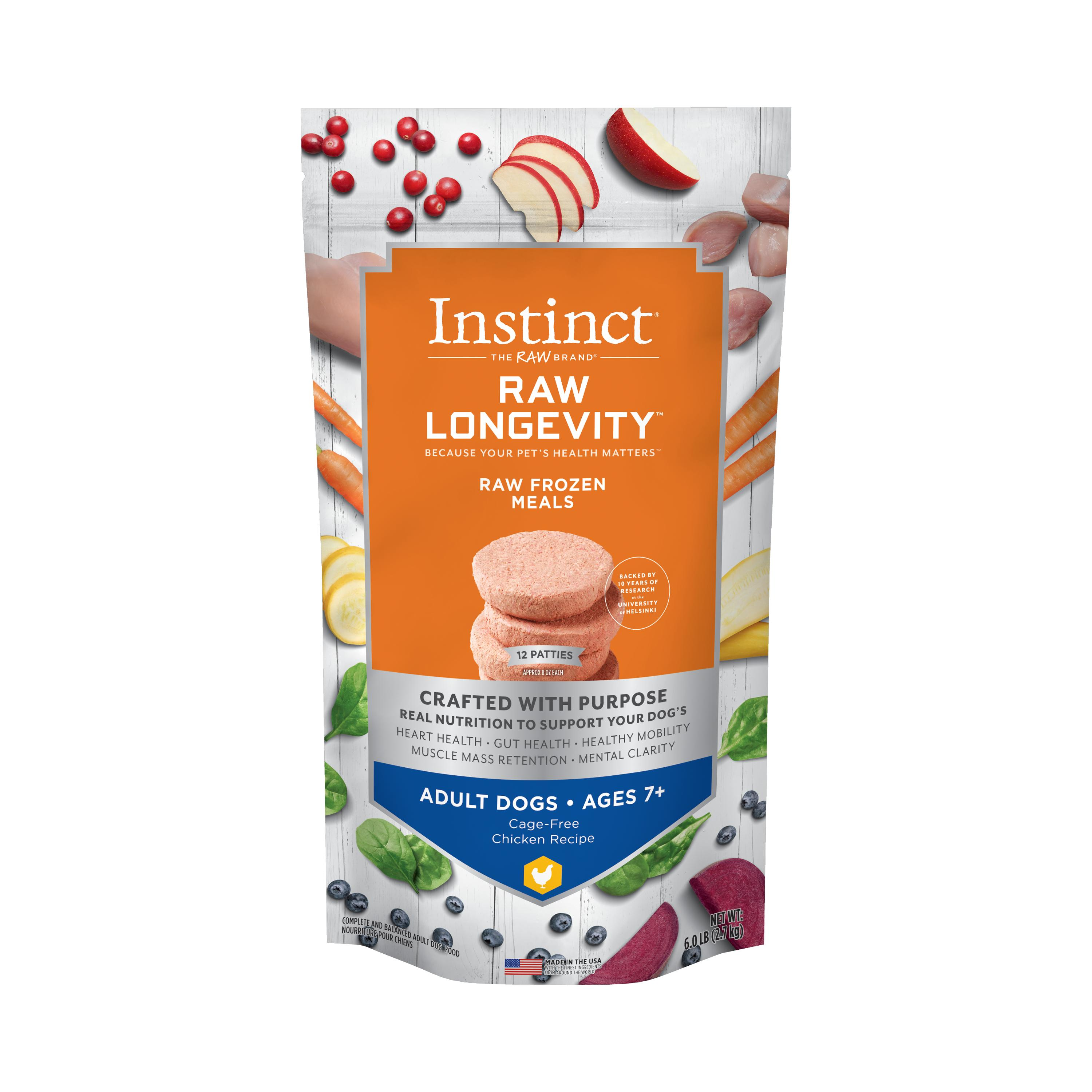 Instinct by Nature's Variety Raw Longevity Patties Cage-Free Chicken Age 7+ Frozen Dog Food, 6-lb