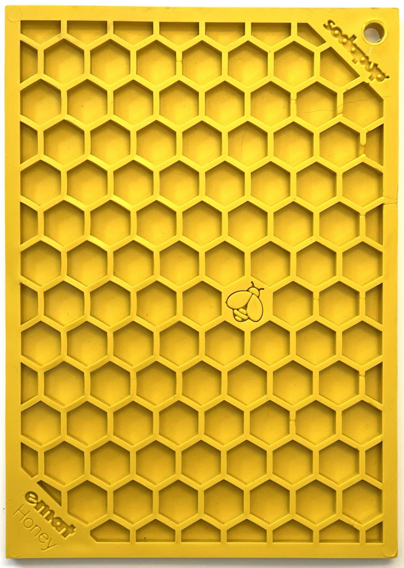 SodaPup Honeycomb Design Emat Enrichment Licking Mat Dog Slow Feeder, Yellow, Small