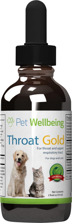 Pet Wellbeing Throat Gold Throat & Upper Respiratory Tract Support Dog Supplement, 2-oz bottle