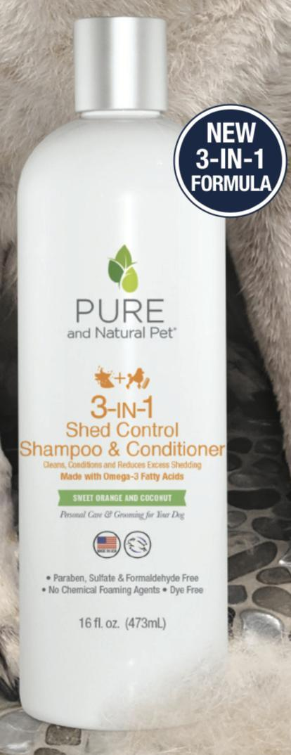 Pure and Natural Pet 3-in-1 Shed Control Dog Shampoo & Conditioner Image