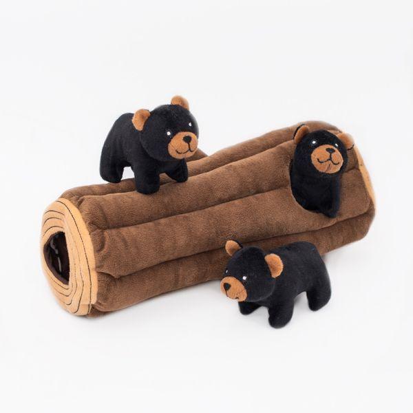 ZippyPaws Zippy Burrow Black Bear Log Dog Toy