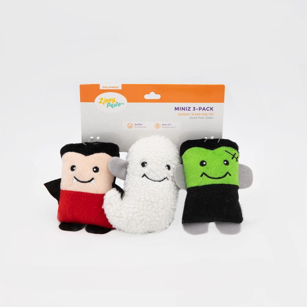 ZippyPaws Halloween Miniz Monsters Dog Toy, 3-pk