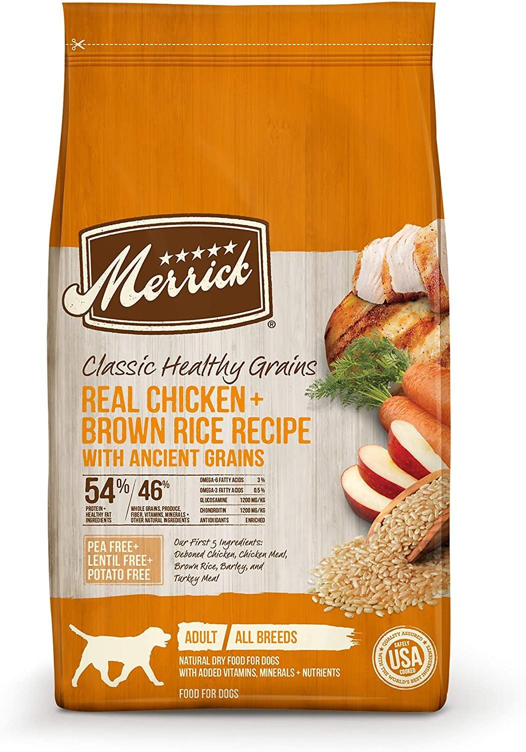Merrick Classic Healthy Grains Real Chicken + Brown Rice Recipe with Ancient Grains Adult Dry Dog Food, 4-lb