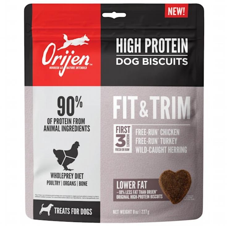 Orijen High Protein Dog Biscuits Fit & Trim Dog Treats, 8-oz