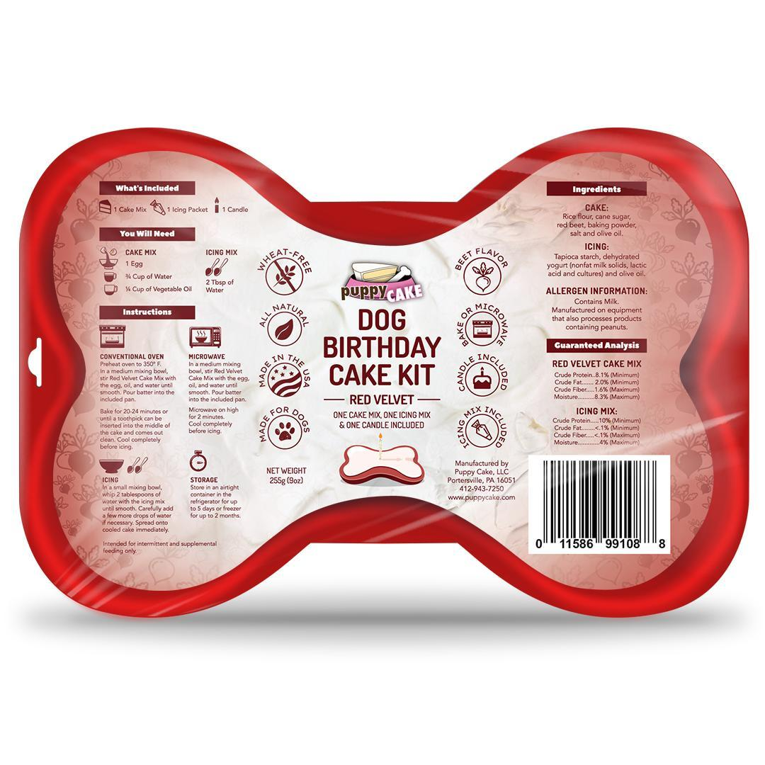 Puppy Cake Birthday Cake Kit Red Velvet Dog Treats, 9-oz