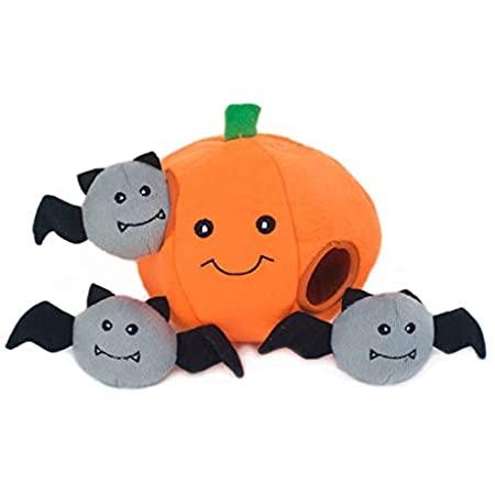 ZippyPaws Halloween Burrow Pumpkin with Bats Dog Toy