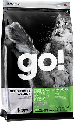 Go! Sensitivity + Shine Grain-Free Freshwater Trout & Salmon Dry Cat Food, 8-lb bag