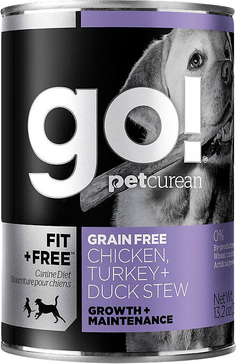 Petcurean Dog Go! Fit + Free Grain-Free Chicken, Turkey & Duck Stew Wet Dog Food, 13.2-oz