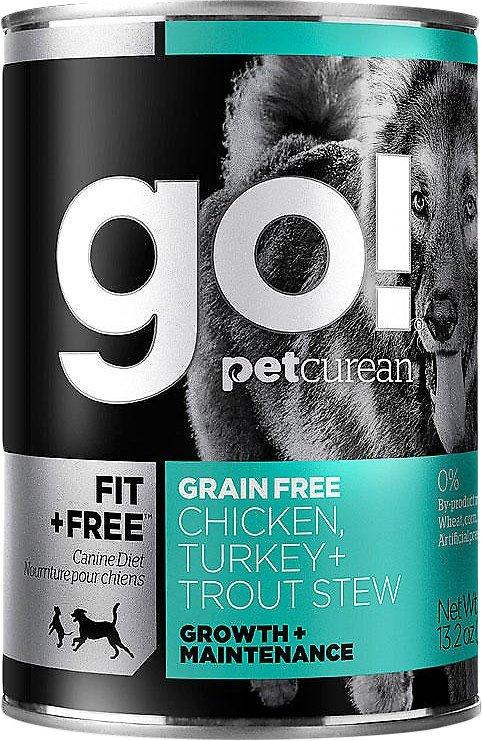 Go! Fit + Free Grain-Free Chicken, Turkey & Trout Stew Wet Dog Food, 13.2-oz