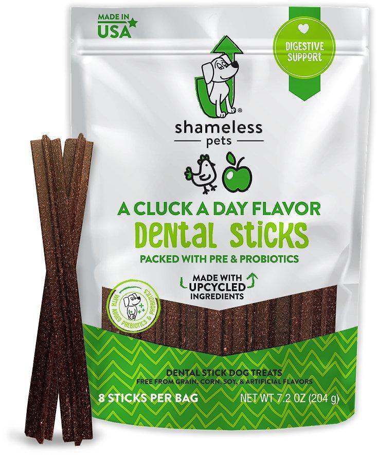 Shameless Pets A Cluck A Day Dental Sticks Dog Treats, 8-count