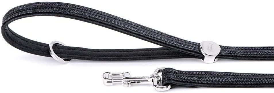 MyFamily Saint Tropez Leatherette Dog Leash, Black, 3/4-in x 4-ft