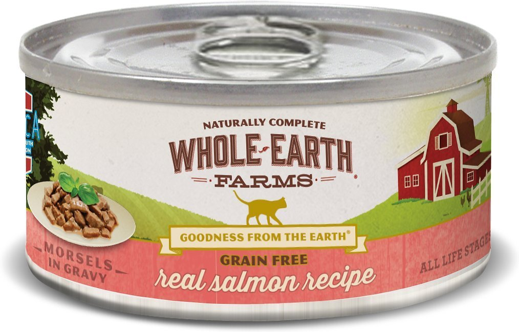 Whole Earth Farms Grain-Free Morsels in Gravy Salmon Recipe Canned Cat Food, 5-oz