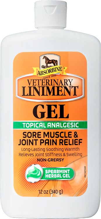 Absorbine Veterinary Sore Muscle & Joint Pain Relief Liniment Horse Gel, 12-oz
