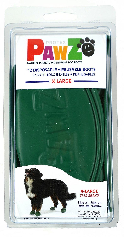 Pawz Waterproof Dog Boots, Green, X-Large