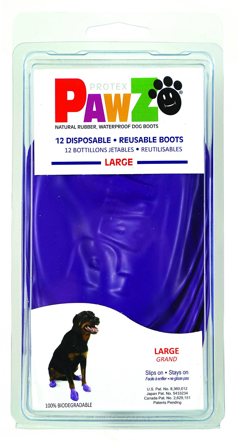 Pawz Waterproof Dog Boots, Purple, Large