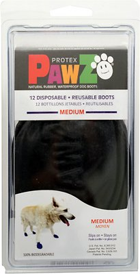 Pawz Waterproof Dog Boots, Black, Medium