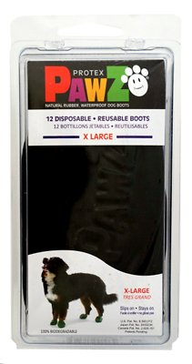 Pawz Waterproof Dog Boots, Black, X-Large