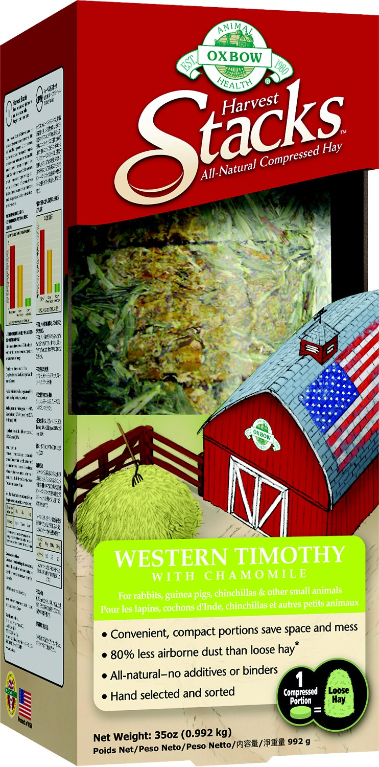 Oxbow Harvest Stacks Compressed Hay Western Timothy with Chamomile Small Animal Food, 35-oz