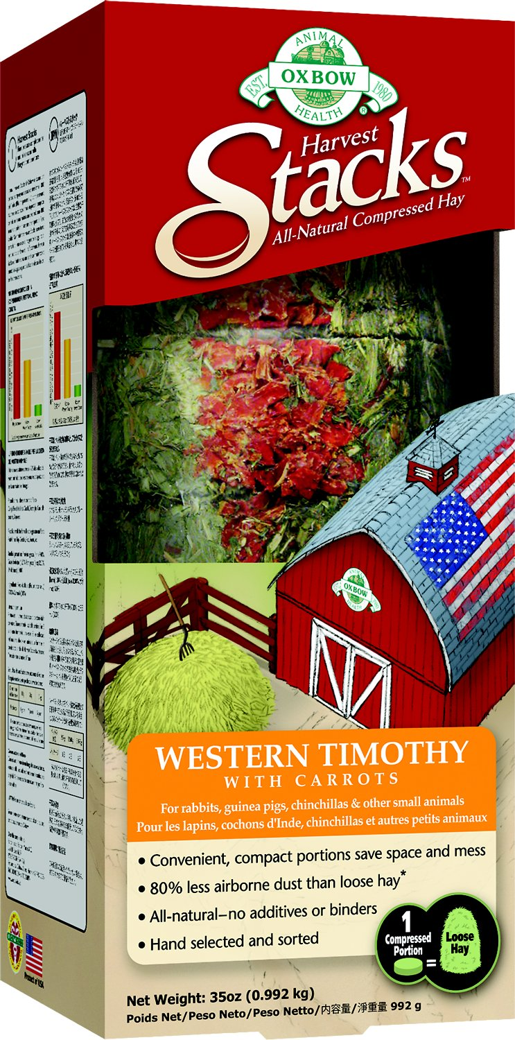 Oxbow Harvest Stacks Compressed Hay Western Timothy with Carrots Small Animal Food, 35-oz Image