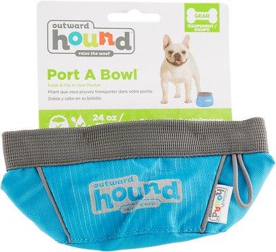 Outward Hound Port-A-Bowl Pet Bowl, Blue, 24-oz
