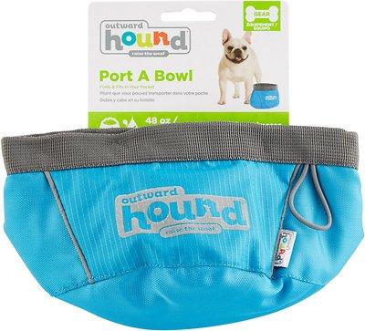 Outward Hound Port-A-Bowl Pet Bowl, Blue, 48-oz
