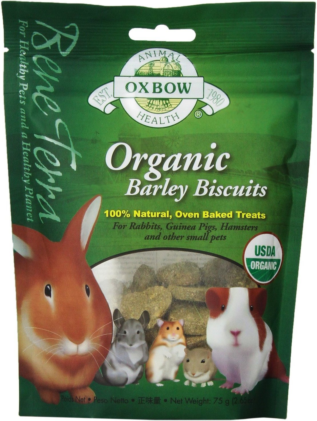 Oxbow Bene Terra Organic Barley Biscuits Small Animal Treats, 2.65-oz bag Image