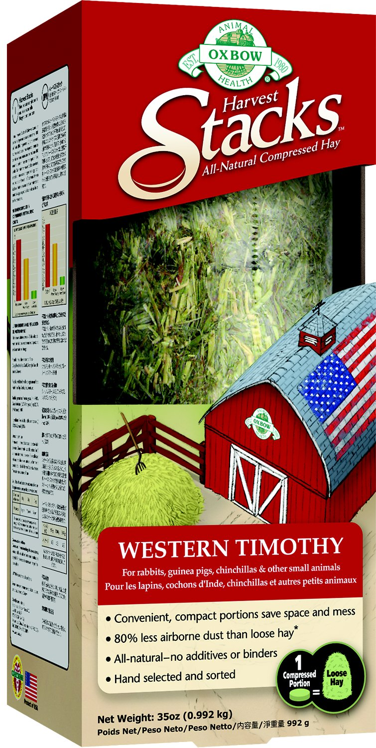 Oxbow Harvest Stacks Compressed Hay Western Timothy Small Animal Food, 35-oz