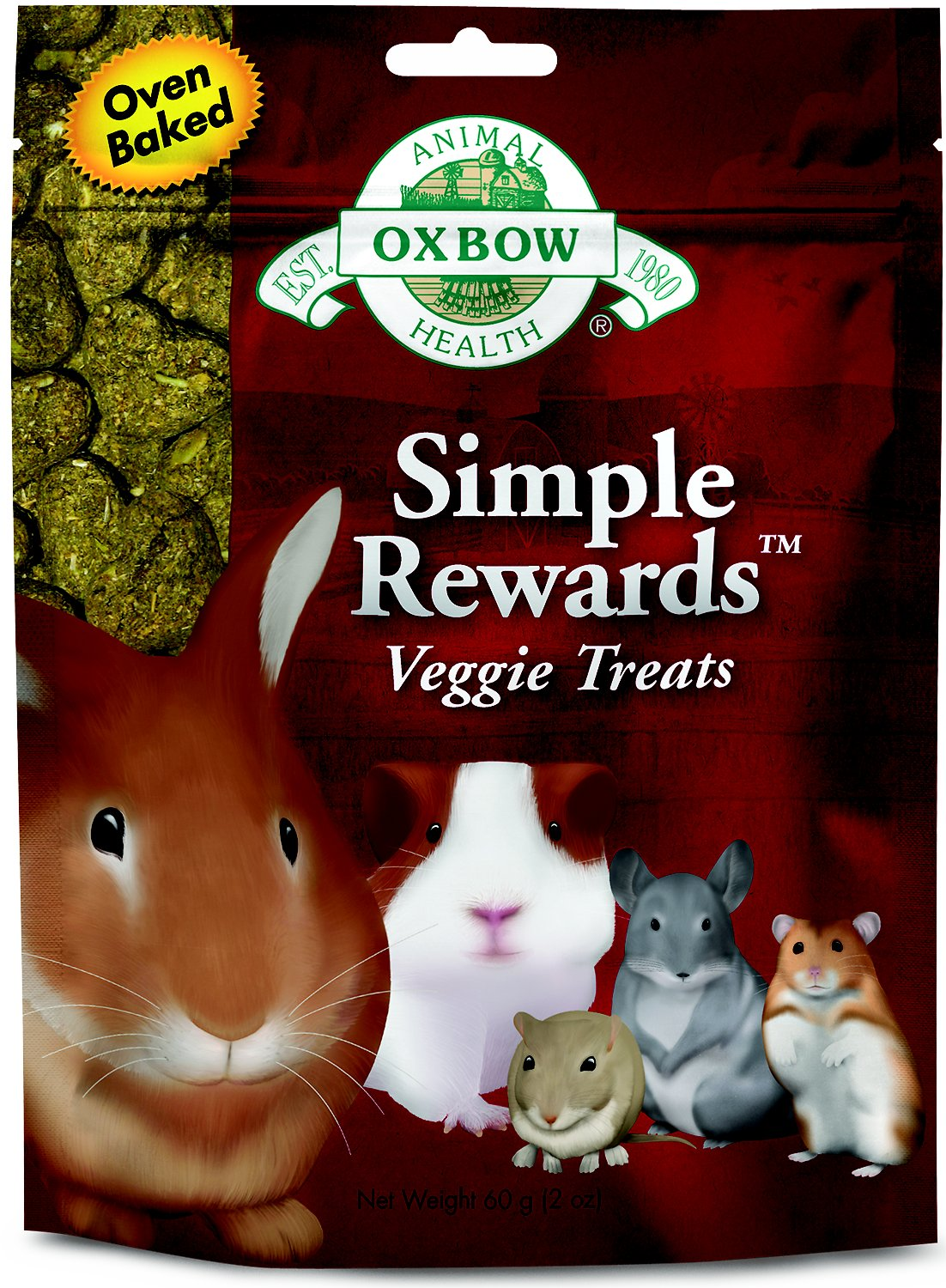 Oxbow Simple Rewards Oven Baked Veggie Small Animal Treats, 2-oz bag