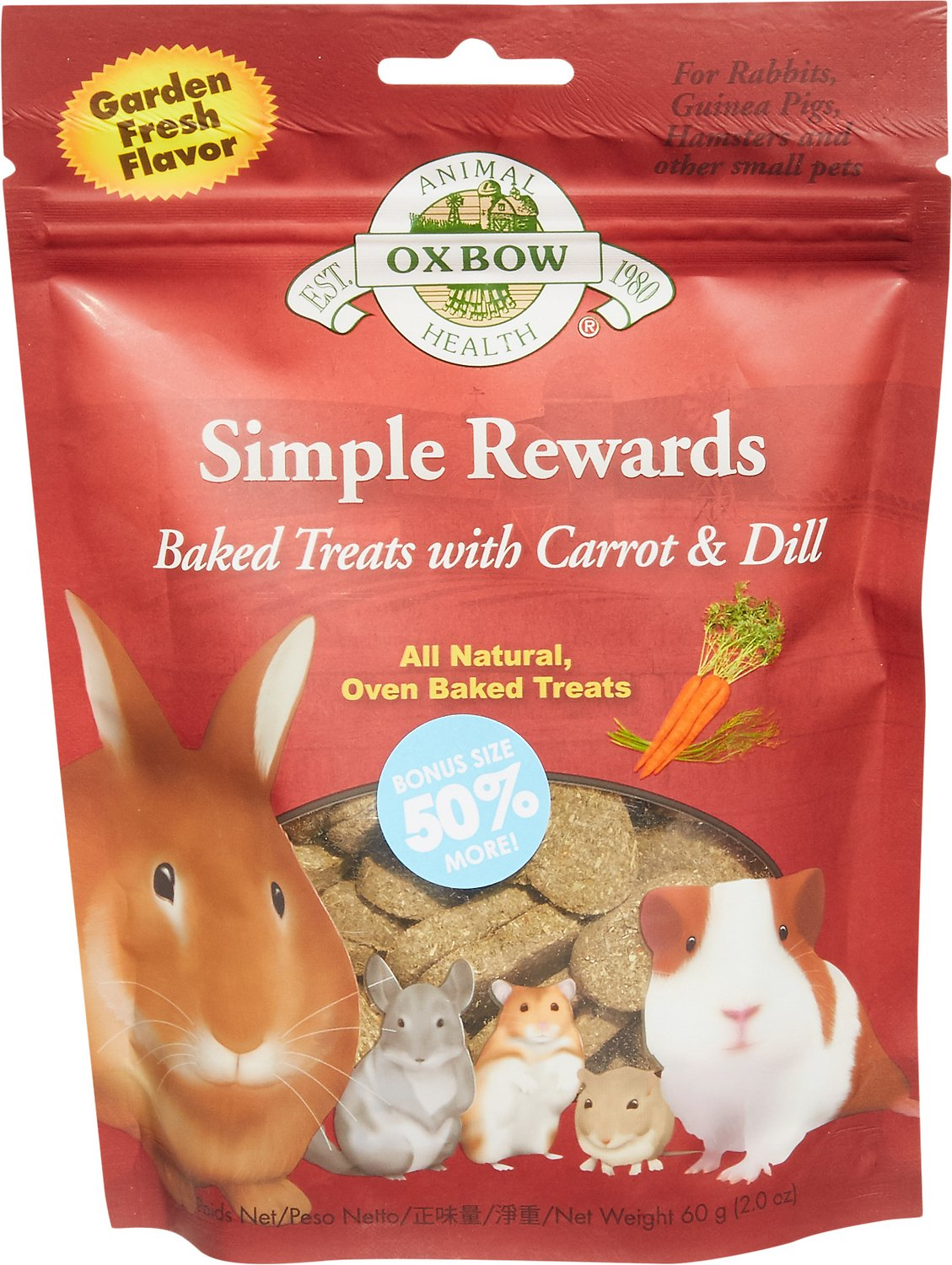 Oxbow Simple Rewards Oven Baked with Carrot & Dill Small Animal Treats, 2-oz bag Image