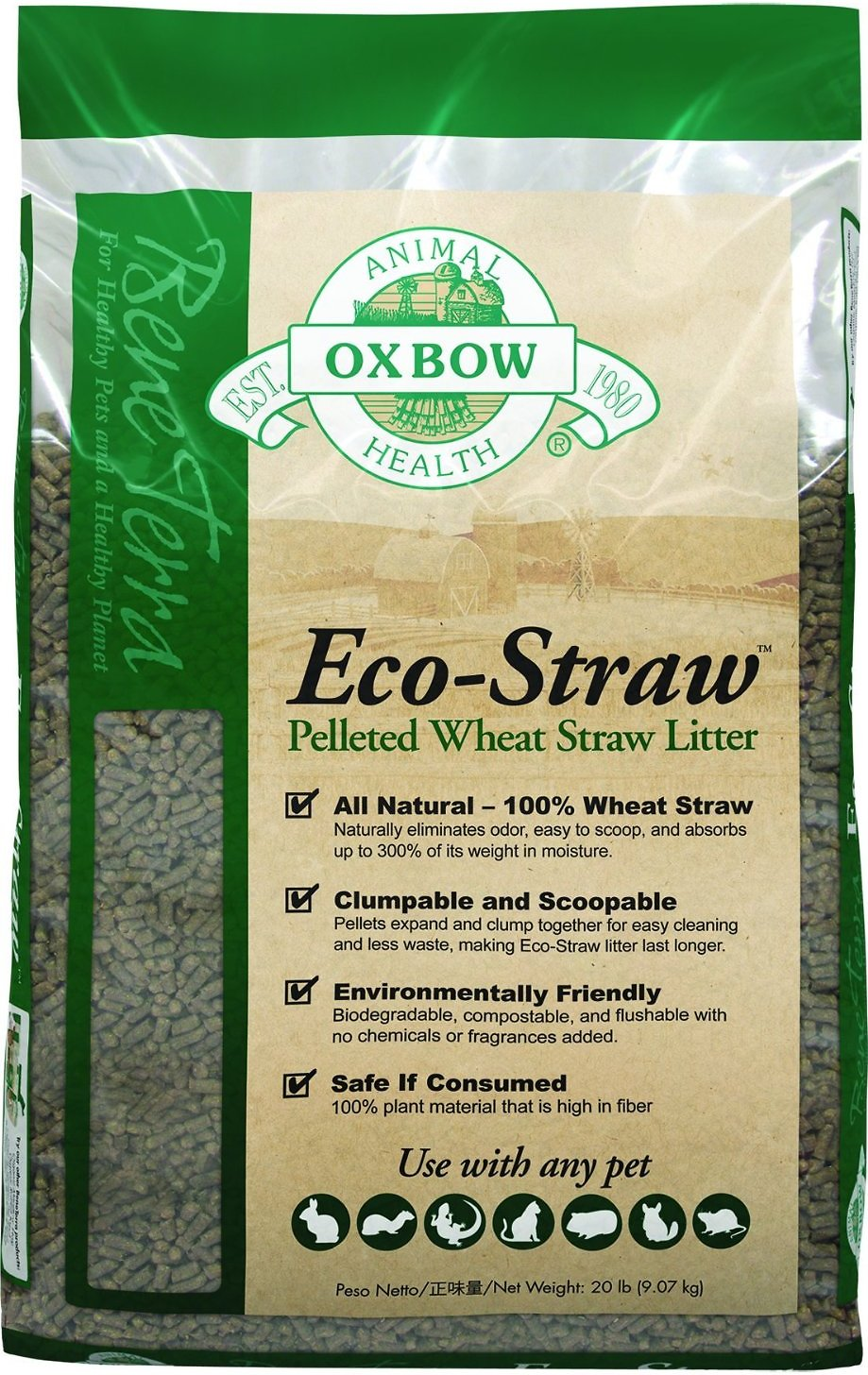 Oxbow Bene Terra Eco-Straw Pelleted Wheat Straw Small Animal Litter Image