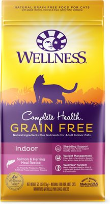 Wellness Complete Health Natural Grain-Free Salmon & Herring Indoor Dry Cat Food, 5.5-lb