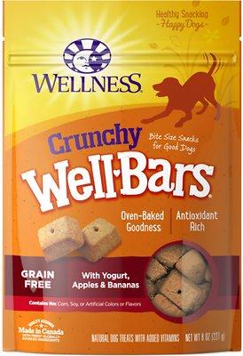Wellness Crunchy WellBars Yogurt, Apples & Bananas Baked Grain-Free Dog Treats, 8-oz bag