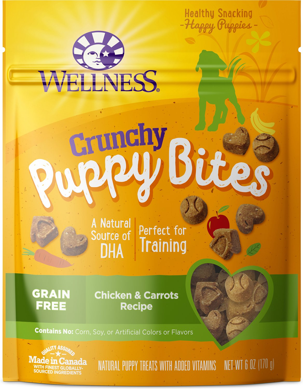 Wellness Grain-Free Crunchy Puppy Bites Chicken & Carrots Recipe Dog Treats, 6-oz bag