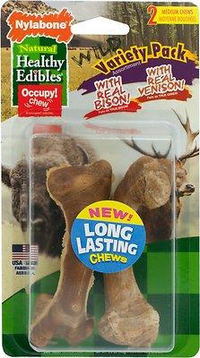 Nylabone Natural Healthy Edibles Variety Pack Bison & Venison Dog Treats, Medium