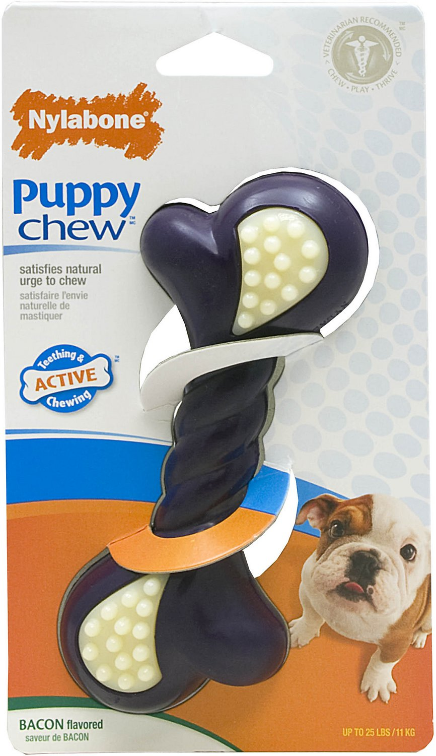 Nylabone Puppy Chew Double Action Bacon Flavor Dog Toy Image