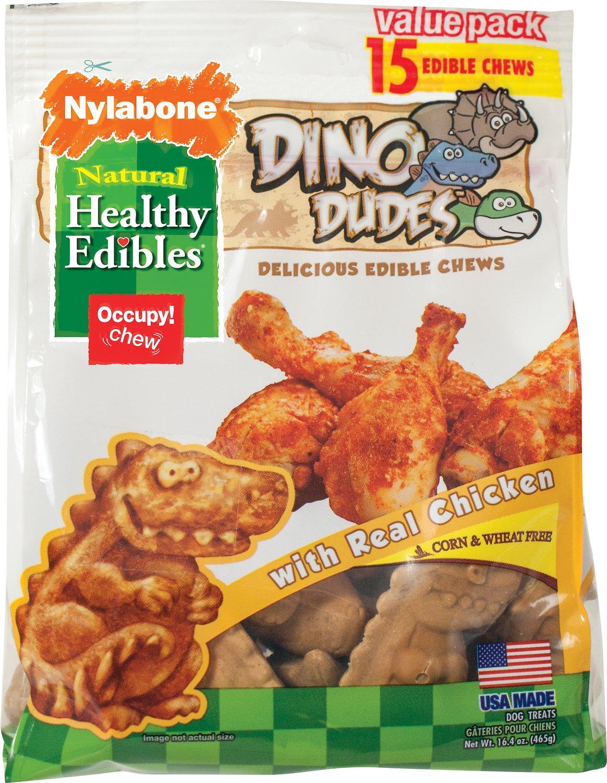 Nylabone Healthy Edibles Dino Dudes Chicken Flavored Dog Treats, 15-count