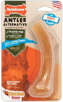 Nylabone Puppy Antler Alternative Chicken Flavored Dog Chew Toy, Wolf