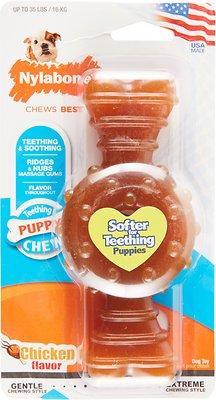 Nylabone Puppy Chew Ring Bone Chicken Flavor Dog Toy, Medium