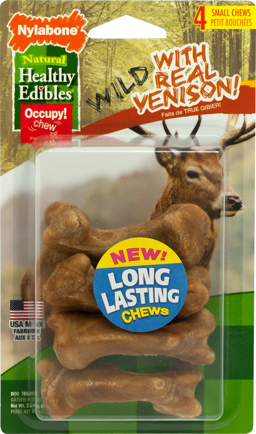 Nylabone Natural Healthy Edibles Wild with Real Venison Small Dog Treats, 4 count