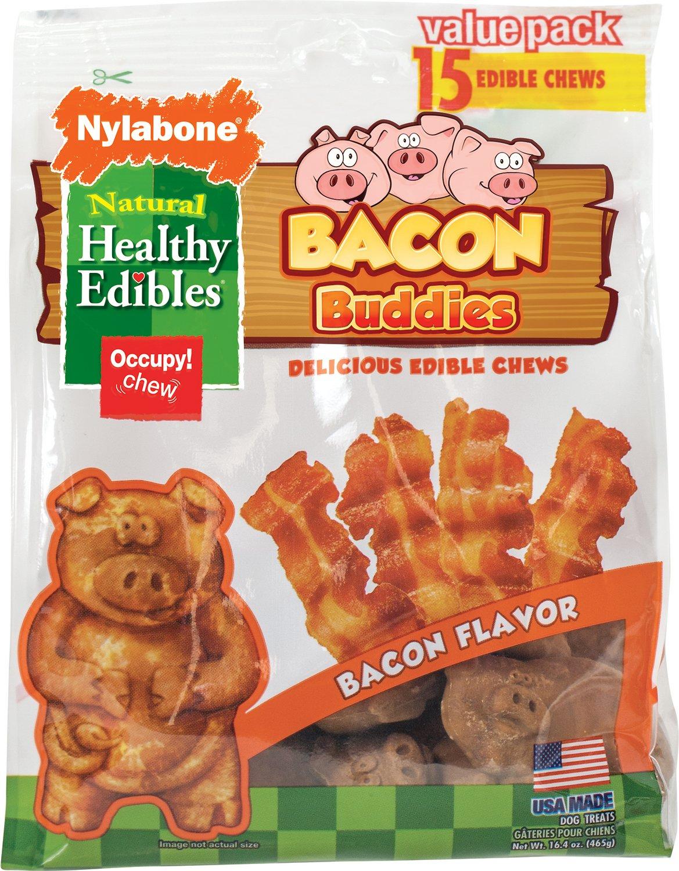 Nylabone Healthy Edibles Bacon Buddies Bacon Flavored Dog Treats, 15-count